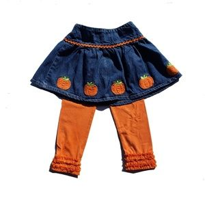 Gymboree Leggings Skirt Size 3T Pumpkin Blue Jean